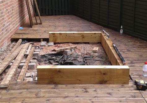 railway sleeper raised bed decking