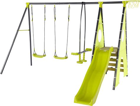 double swing set with slide new plum metal playcentre double swing slide seesaw rock