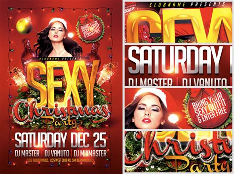 sexy christmas party flyer template flyerheroes
