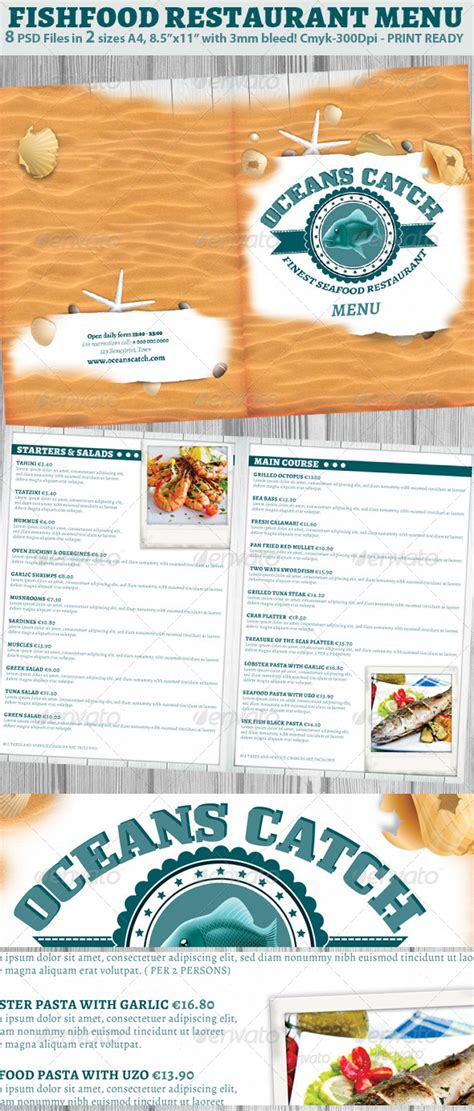 seafood menu templates seafood restaurant menu template graphicriver