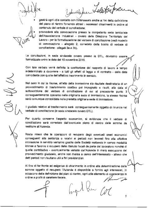 verbale di conciliazione in sede sindacale accordo consolidamento lt 30 luglio 2015