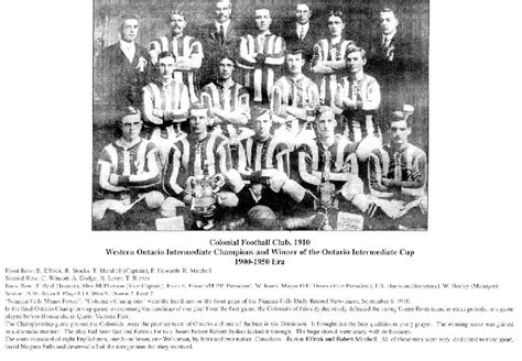 niagara falls sports wall  fame colonial football club  era   details