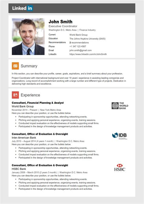 linkedin profile template linkedin resume template cover letter references