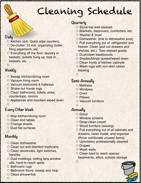 free printable cleaning calendar and checklist the housewife modern