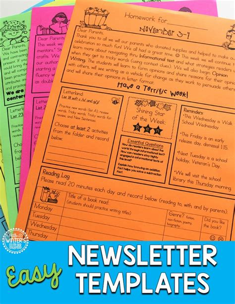 editable newsletter templates best 25 kindergarten newsletter ideas on