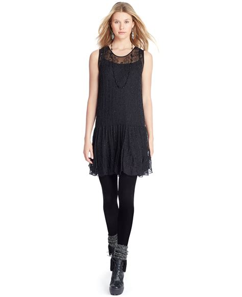 Silk Dress Black 1 lyst polo ralph silk beaded drop waist dress in black