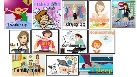 imagenes rutinas diarias en ingles collage de imagenes ingles my daily routine