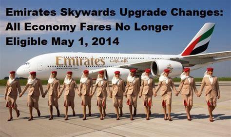 emirates upgrade with miles emirates skywards enhancement some economy fares no