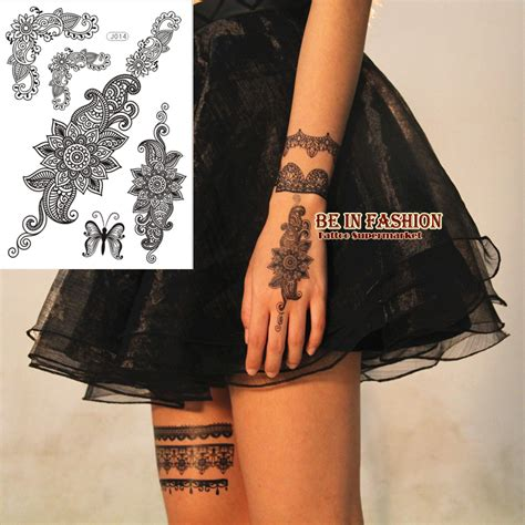 1sheet trendy black temporary arabic tattoo lace henna