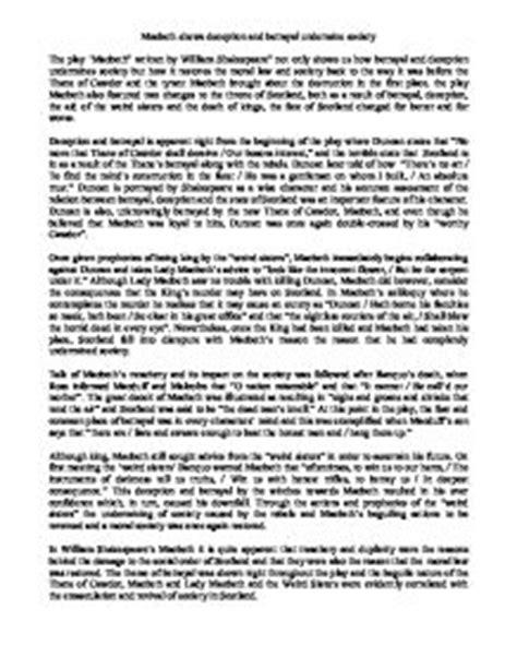 Macbeth Deception Essay by Macbeth Shows Deception And Betrayal Undermine Society Gcse Marked By Teachers