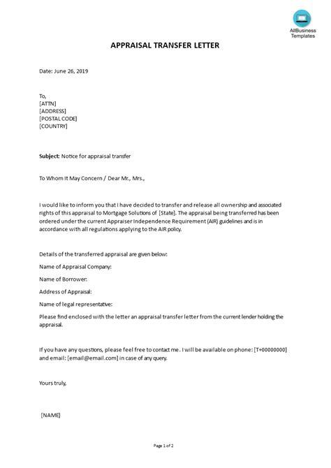 appraisal transfer letter sample templates