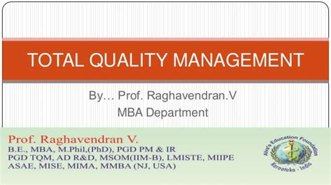Mba Total Quality Management by Vtu Mba Tqm 12mba42 Module 1