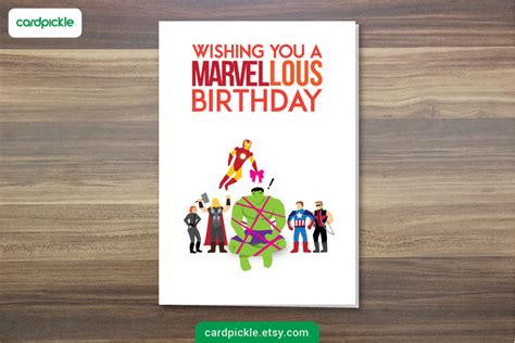 birthday card avengers card marvel card happy birthday