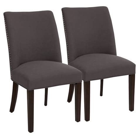 barrel dining chair with nailheads set of 2