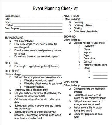 Free Printable Party Planning Papers Event Planning Checklist 7 Free Download For Pdf Microsoft Event Planning Template