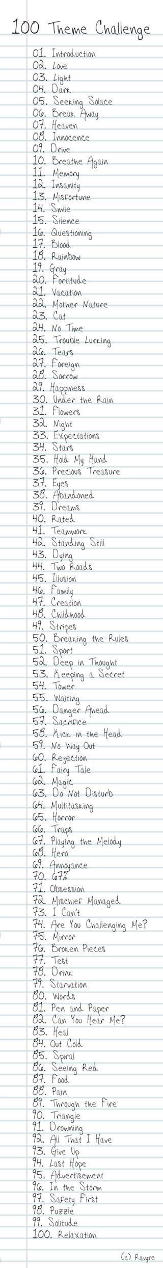 100 themes drawing challenge list 100 theme challenge list by ravyre on deviantart