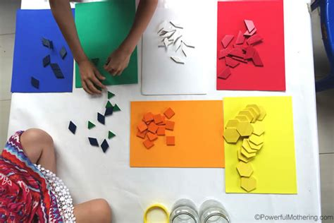 color shape sorting with pattern blocks