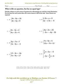 systems of equations elimination worksheet davezan