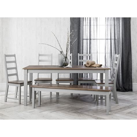 gray dining table with bench canterbury dining table with chairs bench in silk grey