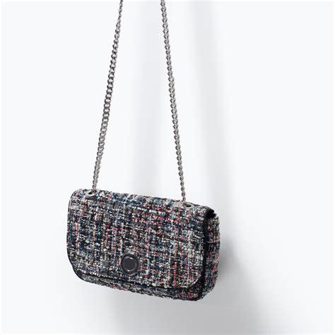 Zara Backpack Tweed zara tweed messenger bag in black lyst
