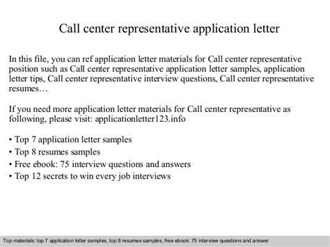 application letter for call center representative call center representative application letter