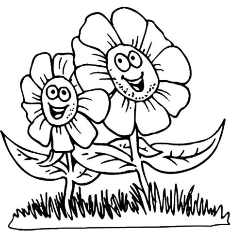 happy flower coloring page coloring cartoon spring face cartoon flowers coloring
