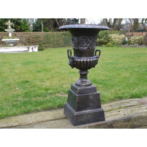 Black Planter Urns by Black Ornate Planter Urn With Base Swanky Interiors