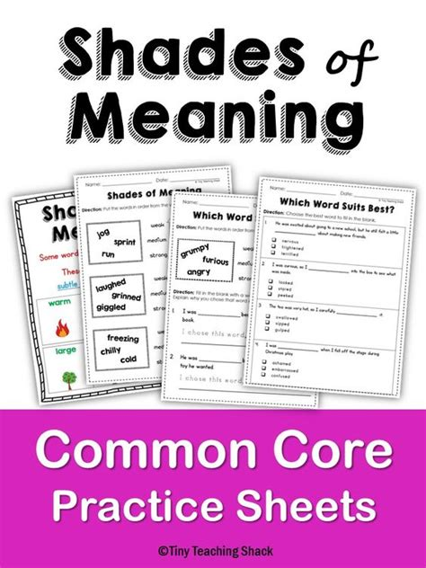 Shades Of Meaning Worksheets by Shades Of Meaning Common Practice Sheets L 1 5 D