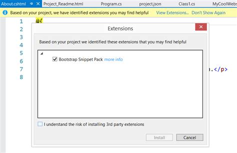 installing bootstrap visual studio 2015 announcing asp net 5 release candidate 1 asp net blog