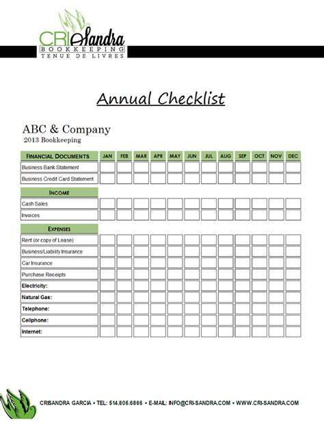 annual bookkeeping checklist exle of a checklist that i