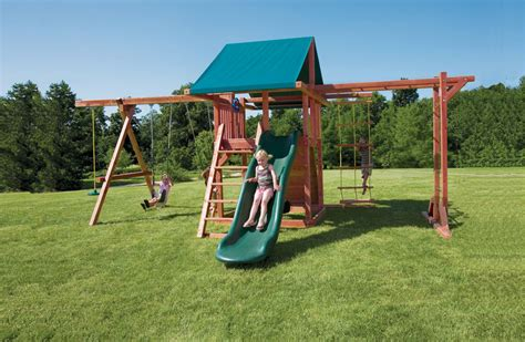 swing set kit grandstand wood swing set kit with monkey bars for backyards