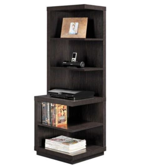 modern corner bookcase with five shelves home office