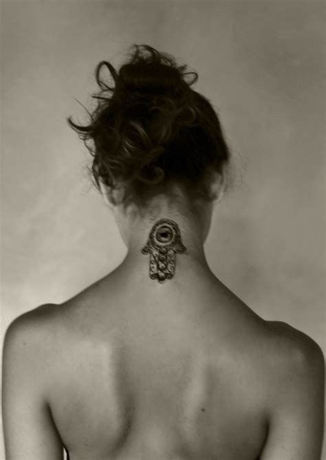 evil tattoo on neck hamsa neck tattoo evil eye and hand tattoos pinterest