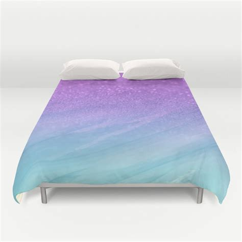 purple and blue bedding duvet cover made to order glitter watercolor purple and