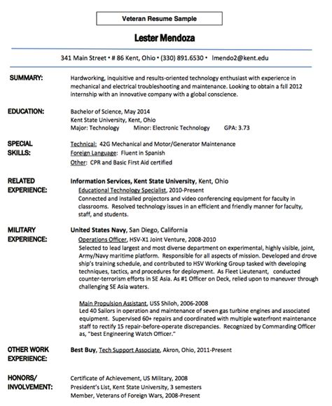 veteran resume sle resumes design