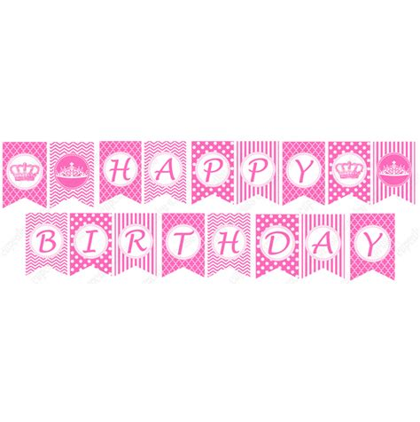 Printable Happy Birthday Banner Princess | pink princess printable diy happy birthday banner