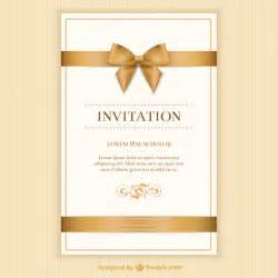 retro invitation card with a ribbon vector free