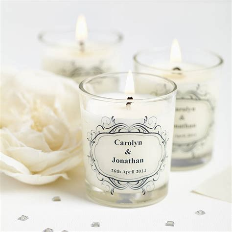 wedding favour personalised scented candles by hearth & heritage   notonthehighstreet.com