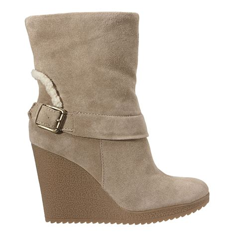 nine west toomany wedge boots in beige taupe suede lyst