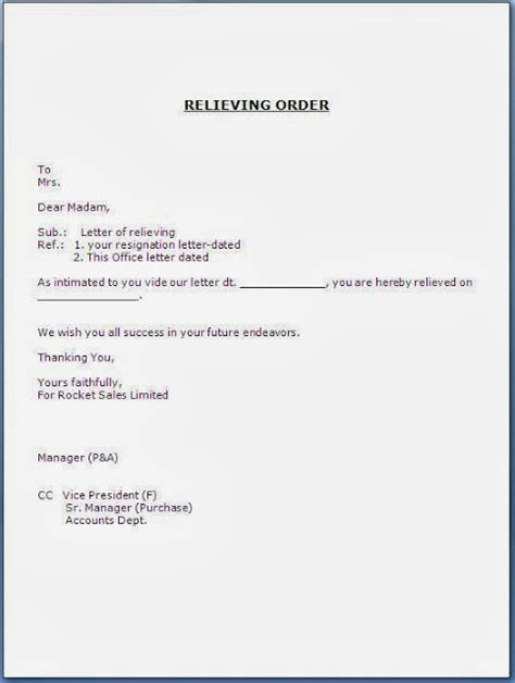 Relieving Request Letter Sle Relieving Order Letter Format