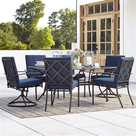 Patio Furniture Dining Grand Resort Fairfax 7pc Dining Set Blue Limited Availability Outdoor Living Patio