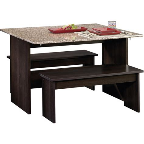 Dining Table Walmart Sauder Beginnings Trestle Dining Table With Benches Finishes Walmart