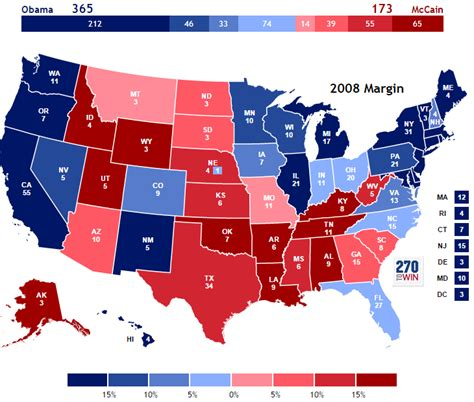 us electoral map presidential election of 2008