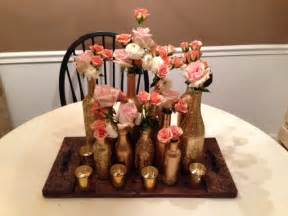 How To Spray Paint Vases - how to diy gold glitter centerpiece bottles delightful details