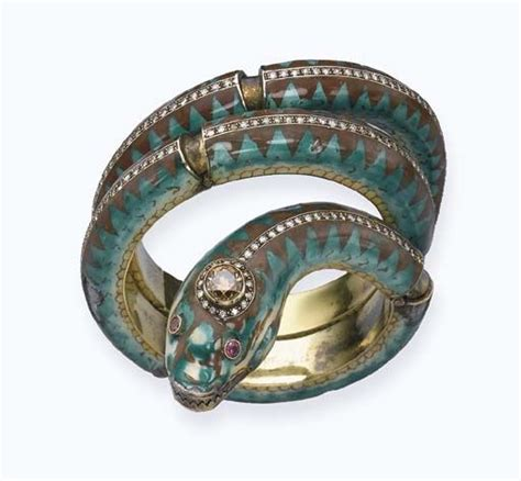 Robert Cavallis Enamel Serpent Bangle by An Deco Enamel And Serpent Bangle Designed