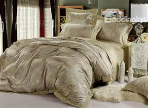 Bedding Sets Uk Shining Grey Jacquard 4 Satin Bedding Sets