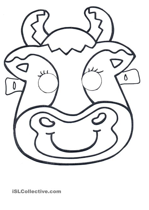 printable animal masks cow click on the image to download and print this cute cow