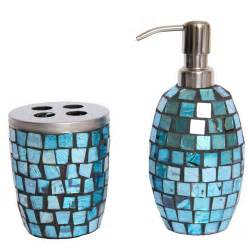 Aqua Bathroom Accessories Turquoise Mosaic Glass Bathroom Accessory Set Lotion Toothbrush Holder Ebay