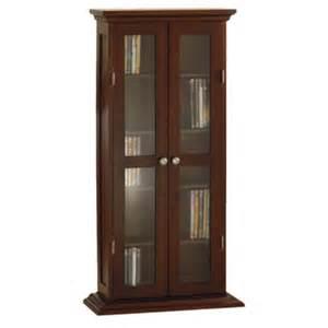 Dvd Cabinets With Doors New Wooden Dvd Cd Glass Door Cabinet Antique Walnut Ebay