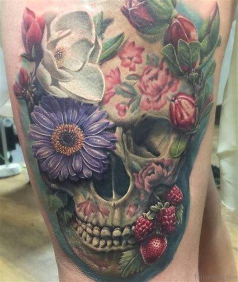 Flower Skull 97 best skull tattoos on thigh